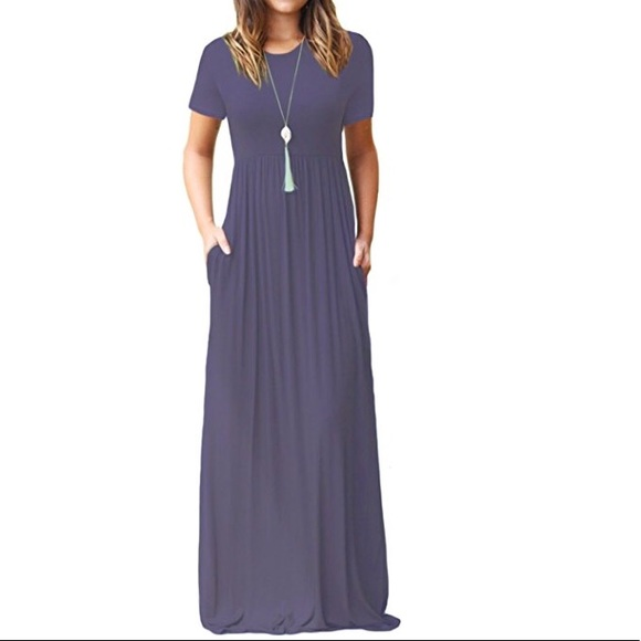 e69c2f5a816 Short Sleeve Loose Maxi Dresses with Pockets